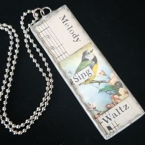Handmade Vintage Soldered Glass Charm Necklace NWT